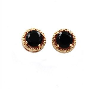 Golden black four-claw crystal earrings